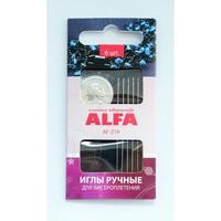 Иглы ручные ALFA для бисероплетения с нитевдевателем (6шт.).AF-219