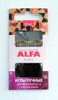 Иглы ручные ALFA для квилтинга №10 ( с золотым ушком).AF-240G