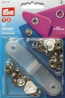 "Prym 390107 Кнопки ""Джерси"", 10 мм., 10 шт., серебристый, шляпка кольцо + насадки для установки."