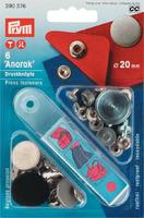 """prym 390376 Кнопки """"Анорак"""", дизайн плоский, 20 мм., 6 шт., состаренное железо + насадки для установки."""