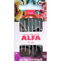 Иглы  ручные  ALFA  для гобеленовой вышивки №18-22 ( 6шт.).AF-228
