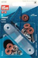 """Prym 622238 Джинсовые кнопки с отверстием дизайн """"Звезда"""", 17 мм.,6 шт.+ насадки для установки."""