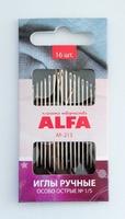 Иглы ручные ALFA особо острые (16 шт.).AF-213