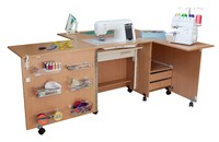 Стол для швейной машины и оверлока Комфорт-5+ (с дополнительной поверхностью для раскроя ткани) до 10 кг