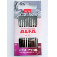 Иглы ручные ALFA для вышивания №1/5 (12шт.). AF-233