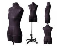 Портновский женский манекен Royal Dress forms MONICA, с подставкой Милан, с конструктивными линиями. Р-р 50 ( черный , бежевый).