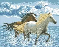 """Картина стразами """"Лошади"""" AJ-106"""